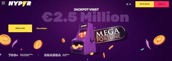 Hyper Casino home page