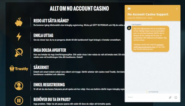 No Account Casino livechatt