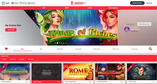Legolas Casino home page