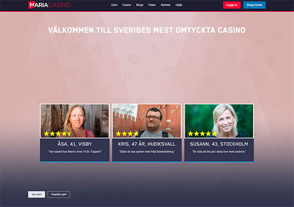 Maria Casino home page