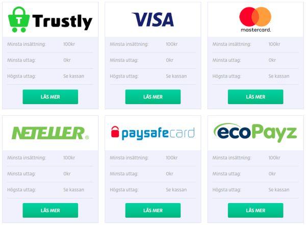 PlayOJO´s Betalningsmetoder och uttag