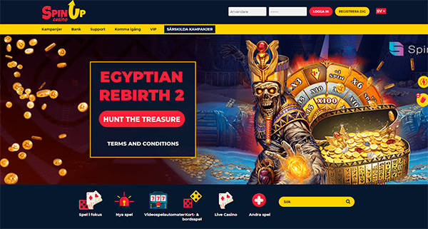 SpinUP Casino homepage