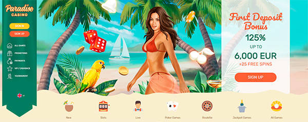 Paradise Casino home page