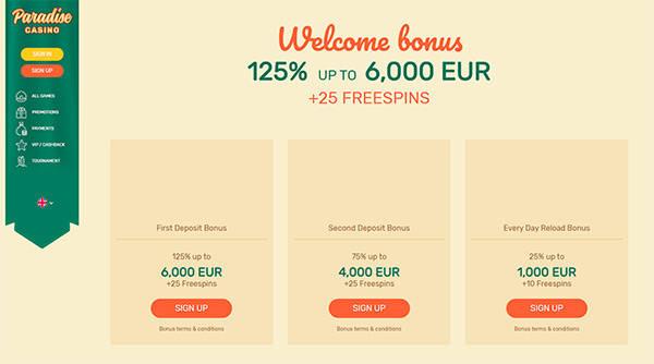 Bonusar & Kampanjer hos Paradisecasino