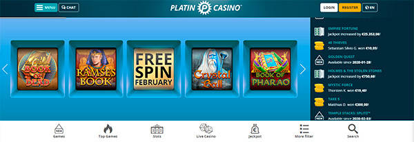 PlatinCasino main page