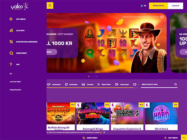Yako Casino home page