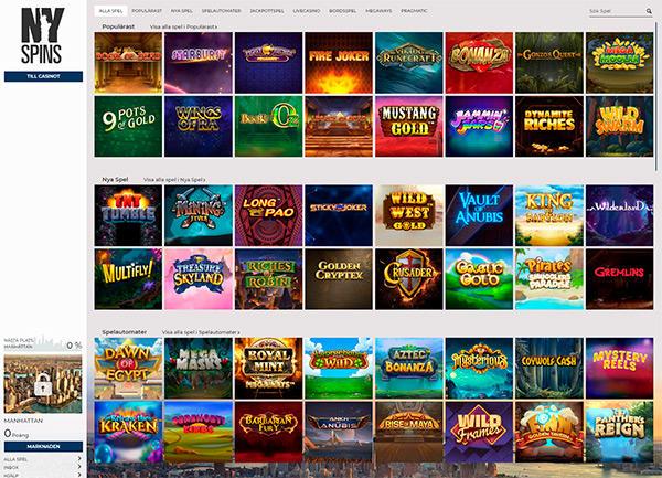 NYspins Casino design och funktion