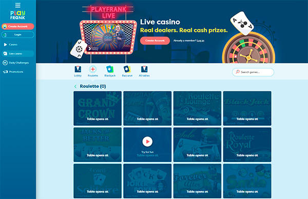 PlayFrank live casino