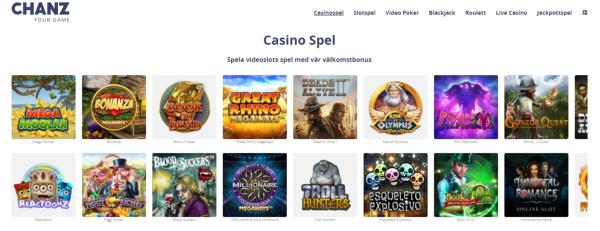 Chanz Casino Spelautomater & Spelutvecklare