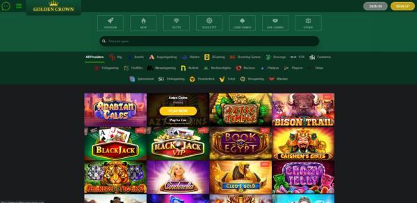 Golden Crown Casinos spelbibliotek